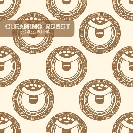 vacuum cleaning: Vacuum cleaning robot seamless pattern. Vintage style, hand drawn pen and ink. Vector seamless pattern. Retro design element for electronics store packaging Illustration