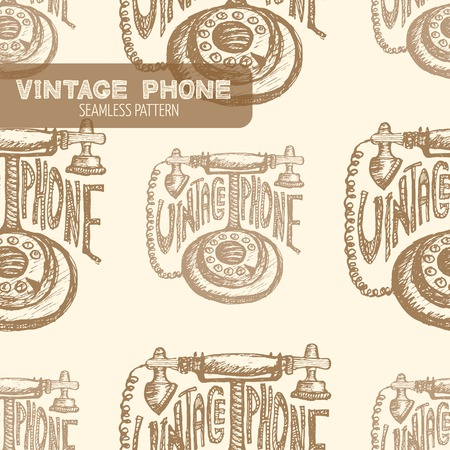 telecommunications equipment: Retro phone seamless pattern. Vintage style, hand drawn pen and ink. Vector seamless pattern. Retro design element for electronics store packaging