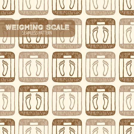 weighing scale: Weighing Scale seamless pattern. Vintage style, hand drawn pen and ink. Vector seamless pattern. Retro design element for electronics store packaging