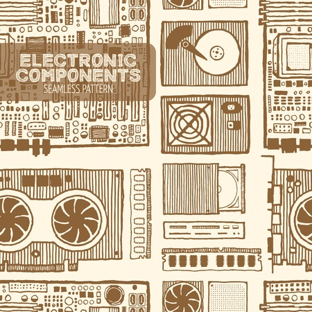 electronic components: Components of desktop computer seamless pattern. Hand drawn pen and ink. Vintage style. Motherboard, ram, graphic card, hard disc. Vector design element for electronics store packaging Illustration