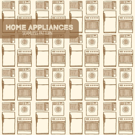 home appliances: Home appliances seamless pattern. Hand drawn pen and ink. Vintage style. Microwave, refrigerator, oven, washing machine. Vector retro style design element for electronics store packaging