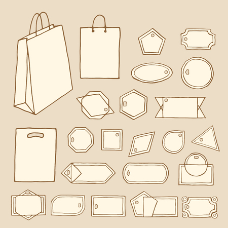 Big set of vintage vector tags, frames, labels, shopping bags. Fully editable sale retro set. Hand drawn, pen and ink. Design element for flyer, banner, advertisement, promotion