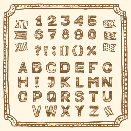doodle art clipart: Latin alphabet, hand drawn pen and ink.  Vintage style, retro sketchy set with frame and flags. Letters, numbers and punctuation marks. Suitable for my sale collection and hand drawn devices.