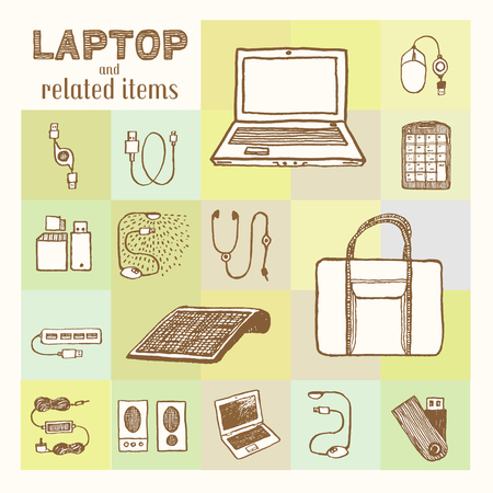 Laptop and related accessories collection.