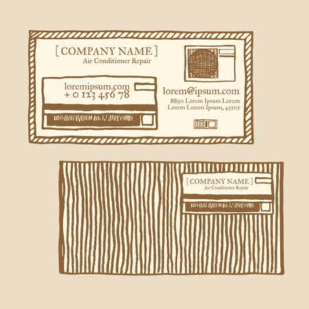 remote control: Air conditioner business card template. Vintage style, hand drawn pen and ink. Inside and outside units and remote control. Retro design element