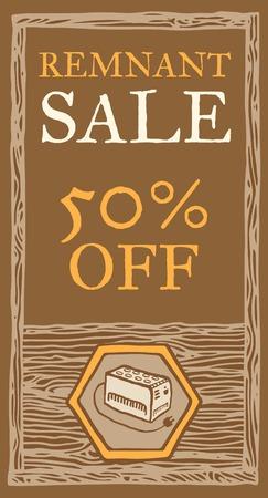 remnant: UPS remnant sale, wood texture. Illustration