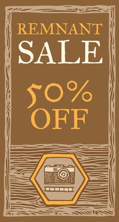remnant: Retro photo camera sale, wood texture.