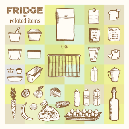 Fridge and related items.