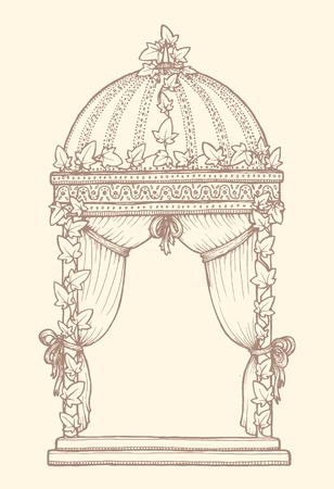 pastel color: Ivy-covered Wedding Gazebo. Design element for wedding greeting card, invitation, frame. Vintage style, hand drawn pen and ink. Romantic retro pastel color