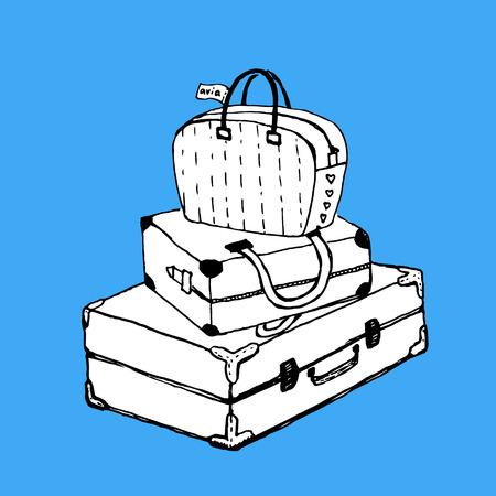 Valises et sac avec étiquette de bagage. Clip Art élément de design avec un contraste fond lumineux. dessiné à la main, la plume et l'encre. Convient pour le tatouage, affiche, carte postale, carte de voeux, invitation de mariage