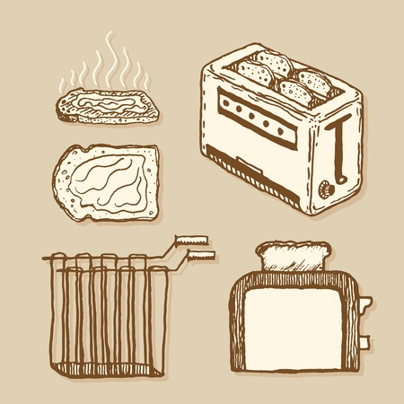 household goods: Toaster and related items collection. Vintage style, hand drawn pen and ink.  Vector clip art set for flyer, business card of home appliances shop or household goods store. Retro design element for packaging or wrapping