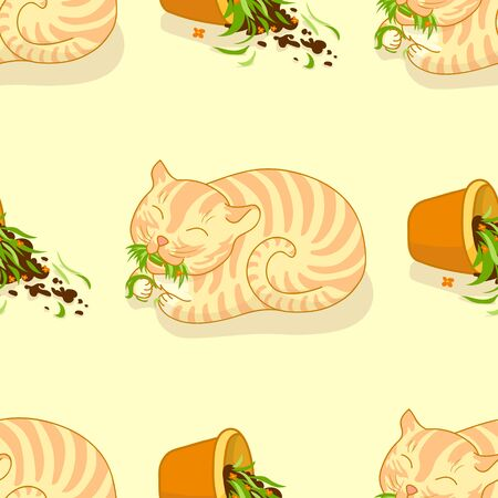 nursery school: Seamless pattern. Happy ginger cat who broke flower pot and eats the grass. Good for garment or fabric design, as curtains pattern for childrens room, nursery school, day care center or kindergarten