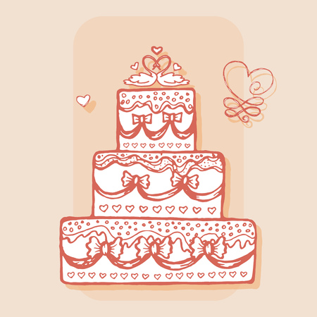 decorated cake: Decorated cake with pair of swans. Design element for wedding greeting card, valentines day invitation, honeymoon postcard. Vintage style, hand drawn pen and ink. Romantic retro bright color