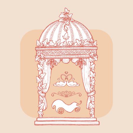 Lierre mariage Gazebo. élément de design pour carte de voeux de mariage, valentines invitation jour, carte postale de lune de miel. Vintage style, plume et encre tirée par la main. Romantique couleurs vives rétro