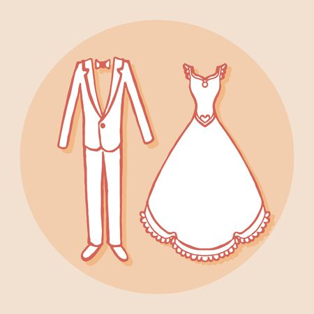 elegant dress: White wedding dress and groom suit. Design element for wedding greeting card, valentines day invitation, honeymoon postcard. Vintage style, hand drawn pen and ink. Romantic retro bright color
