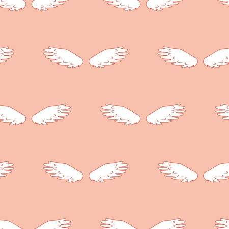 hand drawn wings: Dove wings seamless pattern. Design element for wedding greeting card, valentines day invitation, honeymoon postcard. Vintage style, hand drawn pen and ink