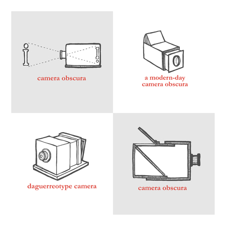 obscura: Camera Obscura. Vector illustration for a poster, flyer, website icons. Set of retro historical camera. Vintage style, hand drawn pen and ink