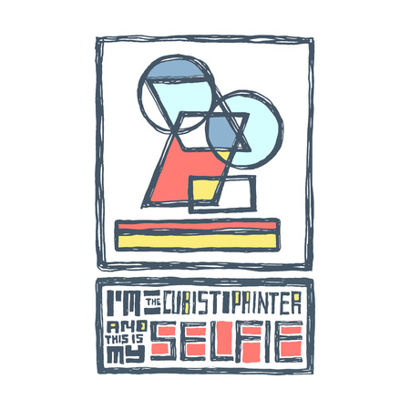 futurism: I am a cubist painter and this is my selfie. Funny creative design for t-shirt, bag, poster, sticker. Hand drawn, pen and ink. Abstract colorful self portrait Illustration