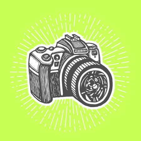 dslr: DSLR digital camera. Vintage style, hand drawn pen and ink.  Vector clip art for flyer, business card of electronics shop or professional camera store. Retro design element