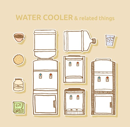 Set of bottled water coolers and related things of office coffee break. Hand drawn pen and ink. Design element for water vendors website, advertisement, banner, flyer. 向量圖像