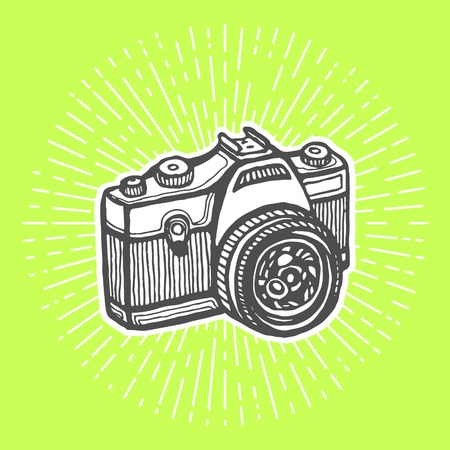 reflex: Single-lens reflex camera. Vintage style, hand drawn pen and ink.  Vector clip art for flyer, business card of electronics shop or professional camera store. Retro design element Illustration