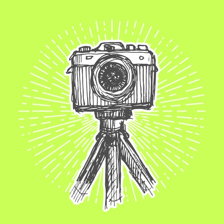 reflex camera: Single-lens reflex camera with tripod. Vintage style, hand drawn pen and ink.  Vector clip art for flyer, business card of electronics shop or professional camera store. Retro design element