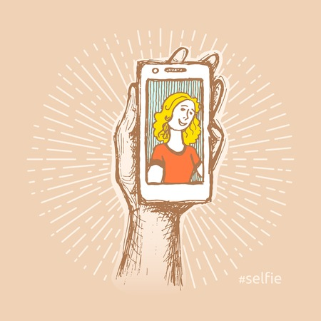 Retro colored vector illustration of woman taking a selfie. Funny creative design for t-shirt, bag, poster, sticker. Hand drawn, pen and ink. Abstract colorful self portrait