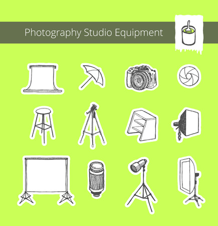 foldable: Photography Studio Equipment. Set of vector black and white illustrations for flyer, banner, ad, website. Hand drawn, pen and ink