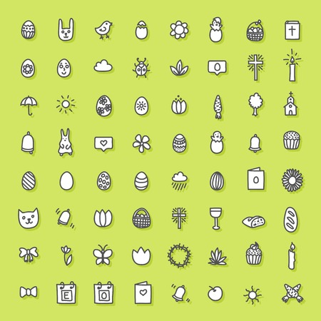 Easter icons hand drawn collection. Vector symbols of Easter and Spring season. Eggs, baskets, chiken, flowers, etc. Design elements for website, greeting card. Black and white on green background