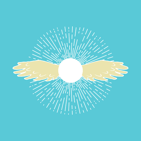 Winged sun. Solar symbol associated with divinity, royalty and power. Clip art for t-shirt or towel design