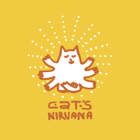 nirvana: Multi-armed cat who has attained Nirvana, is sitting in the lotus position. Design element for yoga studio, poster, greeting card, t-shirt design. Hand drawn, pen and ink