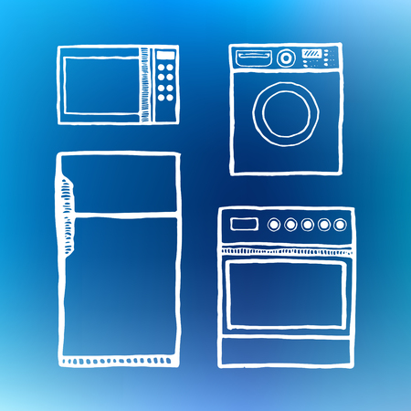 handcrafted: Kitchen appliances. Vintage style, hand drawn, pen and ink. Retro handcrafted design element Illustration