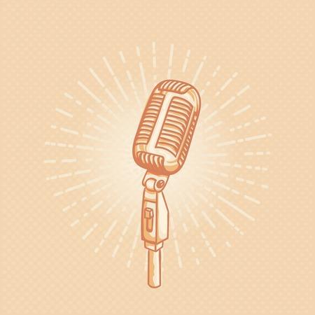 tshirt design: Retro golden microphone. Hand drawn retro illustration with sunburst. Suitable for banner, ad, t-shirt design. Vintave design element
