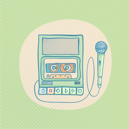 tape recorder: Handheld tape recorder with microphone. Hand drawn retro illustration with sunburst. Suitable for banner, ad, t-shirt design. Vintage design element