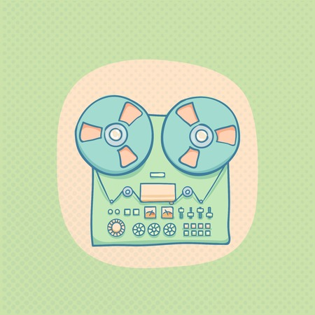 tape recorder: Reel-to-reel audio tape recorder. Handheld reel tape recorder, hand drawn retro illustration with halftone. Suitable for banner, ad, t-shirt design. Vintage tape spool design element