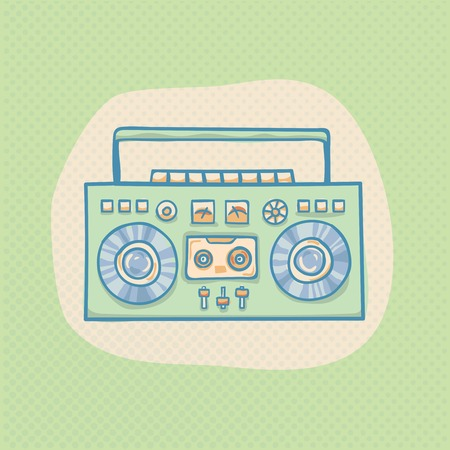 portable player: Boombox with cassette. Portable cassette player, hand drawn retro illustration with halftone. Suitable for banner, ad, t-shirt design. Vintage boom box design element