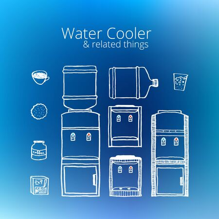Water cooler. Vintage style, hand drawn, pen and ink. Retro handcrafted water cooler design element Illustration