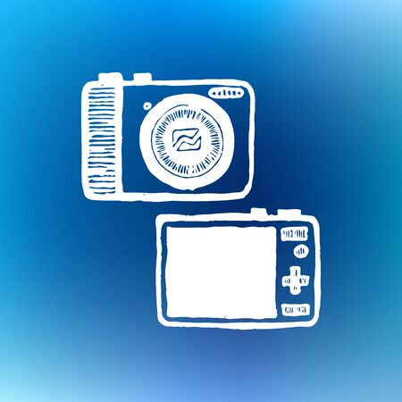 digital photo camera: Compact digital photo camera. Vintage style, hand drawn, pen and ink. Retro handcrafted design element