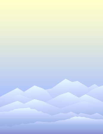 paysage: Peaceful mountains in winter. Highlands landscape, vector background for booklet, flyer, outdoor advertising, brochure, banner, book cover. Colorful mountain landscape for cover of book or magazine Illustration