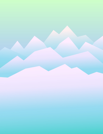 steep: Peaceful mountains in winter. Highlands landscape, vector background for booklet, flyer, outdoor advertising, brochure, banner, book cover. Colorful mountain landscape for cover of book or magazine Illustration