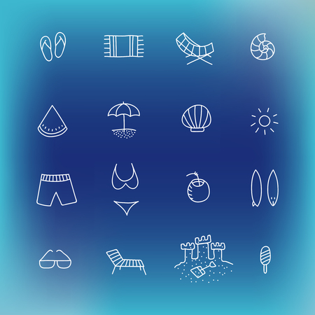 manually: Summer icon set. Hand drawn design element. Collection of vector line icons. Suitable for website design or printed products of travel company