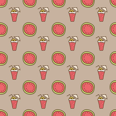 summerly: Seamless summer background. Hand drawn pattern. Suitable for fabric, greeting card, advertisement, wrapping. Bright and colorful watermelon and cocktail backdrop