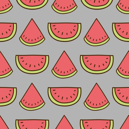 summerly: Seamless summer background. Hand drawn pattern. Suitable for fabric, greeting card, advertisement, wrapping. Bright and colorful watermelon backdrop