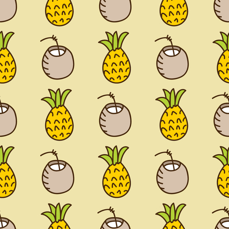 summerly: Seamless summer background. Hand drawn pattern. Suitable for fabric, greeting card, advertisement, wrapping. Bright and colorful pineapple and cocktail backdrop Illustration