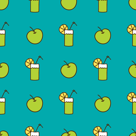 estival: Seamless summer background. Hand drawn pattern. Suitable for fabric, greeting card, advertisement, wrapping. Bright and colorful apple and cocktail backdrop Illustration