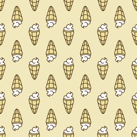 estival: Seamless summer background. Hand drawn pattern. Suitable for fabric, greeting card, advertisement, wrapping. Bright and colorful ice cream cone backdrop Illustration