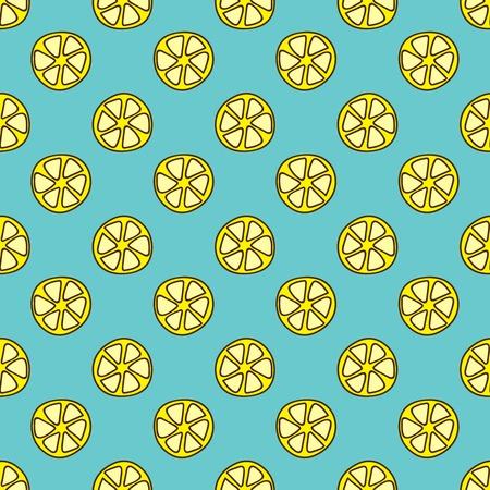 summerly: Seamless summer background. Hand drawn pattern. Suitable for fabric, greeting card, advertisement, wrapping. Bright and colorful lemon slices backdrop