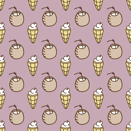summerly: Seamless summer background. Hand drawn pattern. Suitable for fabric, greeting card, advertisement, wrapping. Bright and colorful cocktail and ice cream backdrop