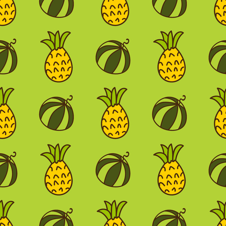 summerly: Seamless summer background. Hand drawn pattern. Suitable for fabric, greeting card, advertisement, wrapping. Bright and colorful watermelon and pineapple backdrop