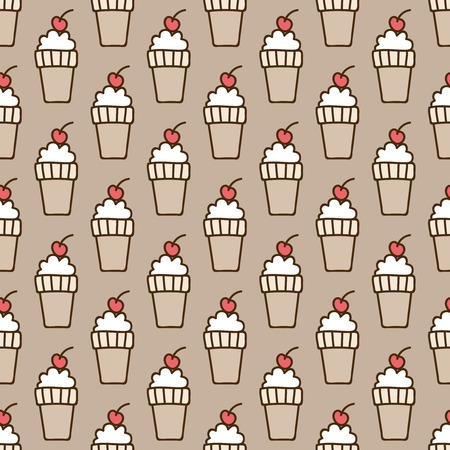summery: Seamless summer background. Hand drawn pattern. Suitable for fabric, greeting card, advertisement, wrapping. Bright and colorful ice-cream cone and a cherry backdrop